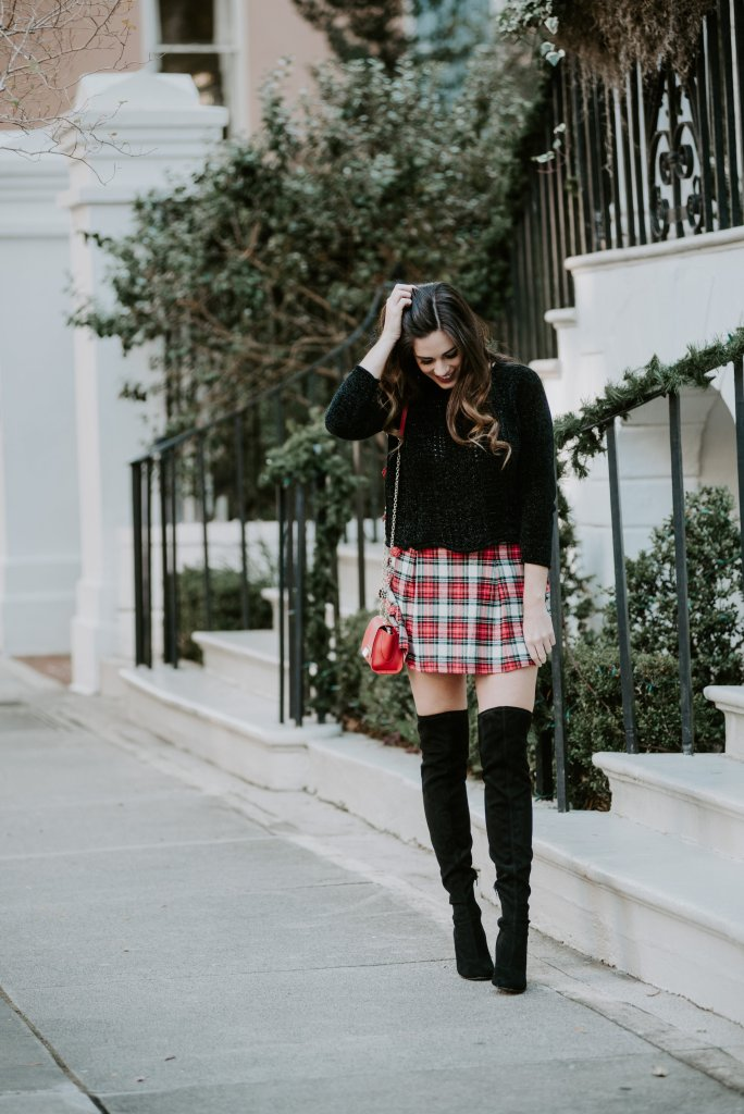 plaid skirts under $60 holiday outfit merry bright otk boots zac posen bag amazon dillards