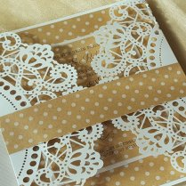 Laser cut & kraft polka dot band invitiation