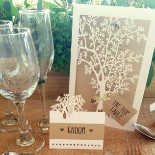 Laser cut rustic menu and place card