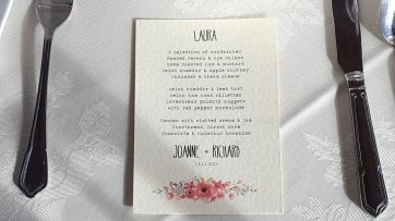 water colour floral print menu