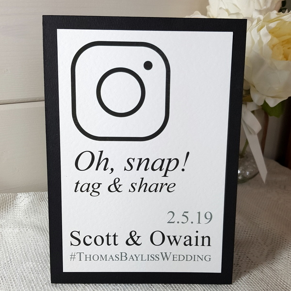 black and white oh snap wedding sign
