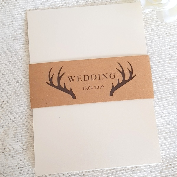 stag pocketfold invitation