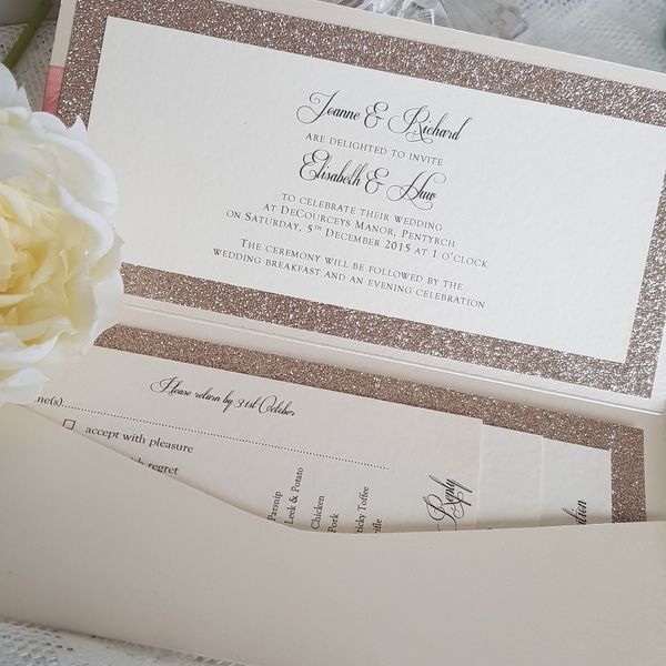 pocketfold invitation insert with champagne glitter