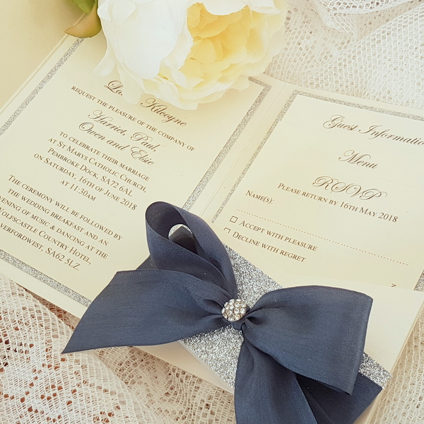 bows and bling silk bow pocketfold invitation