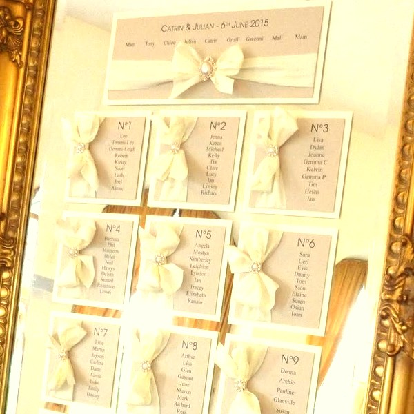 bows and bling silk ribbon blush table plan