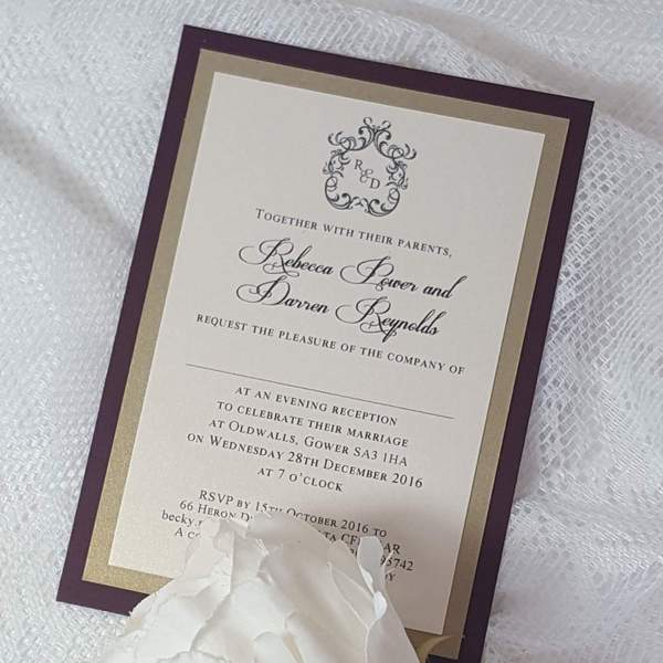burgundy and gold mongram evening invitation