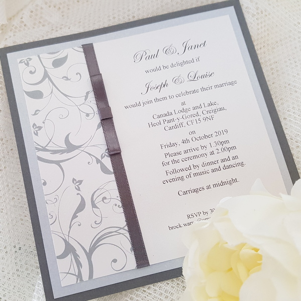 elegant grey wedding invitation
