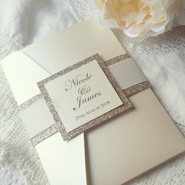 glitterati ivory pocketfold invitation