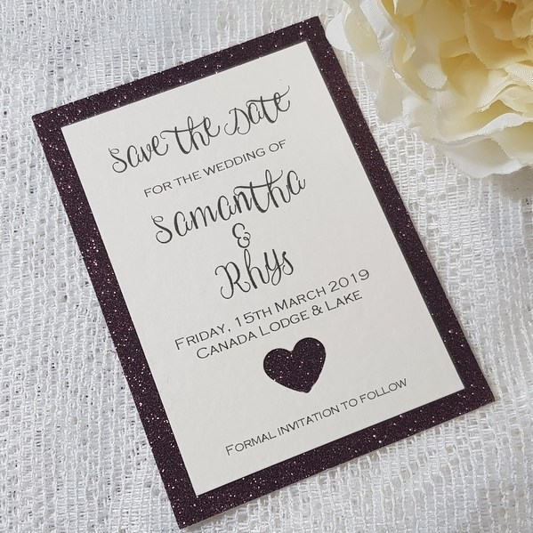 plum glitter save the date with heart