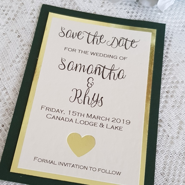 green and gold save the date