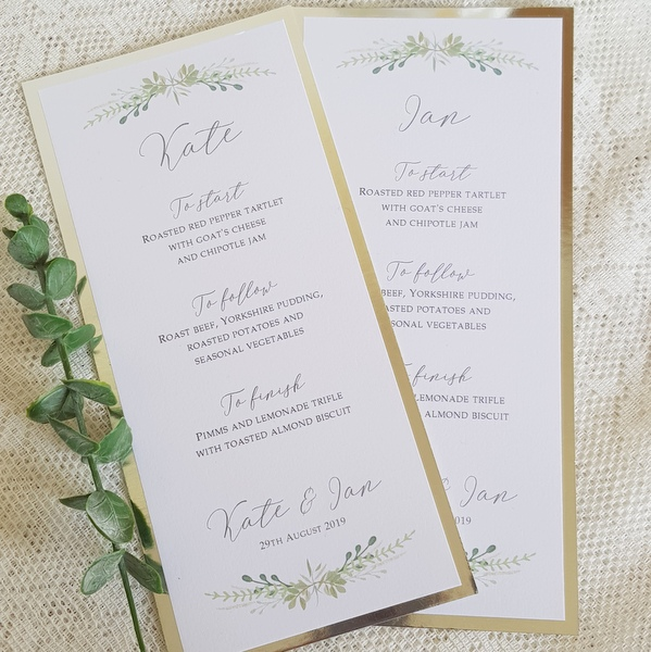 silver and green leaves wedding menu