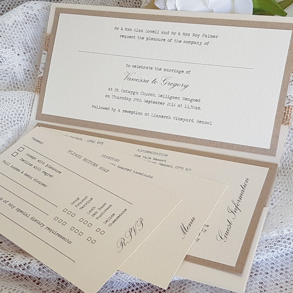 rustic pocketfold invitation inserts