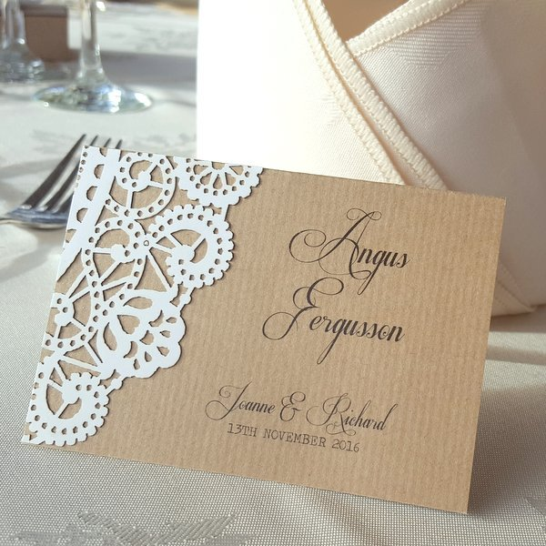 doily rustic place card