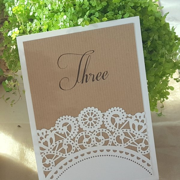 doily rustic table number