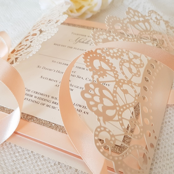 peach and cream doily laser invitation