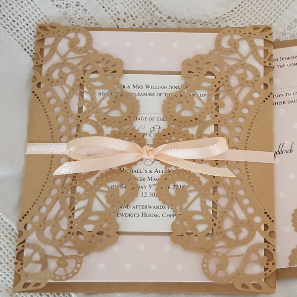 kraft doily invitation with polka dots
