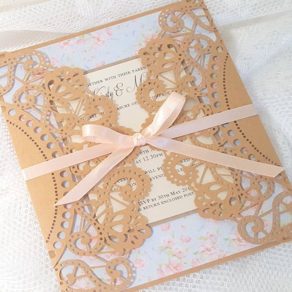 laser cut kraft floral doily invitation