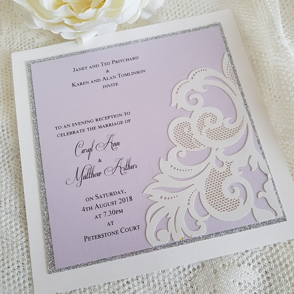 laser cut lilac evening invitation