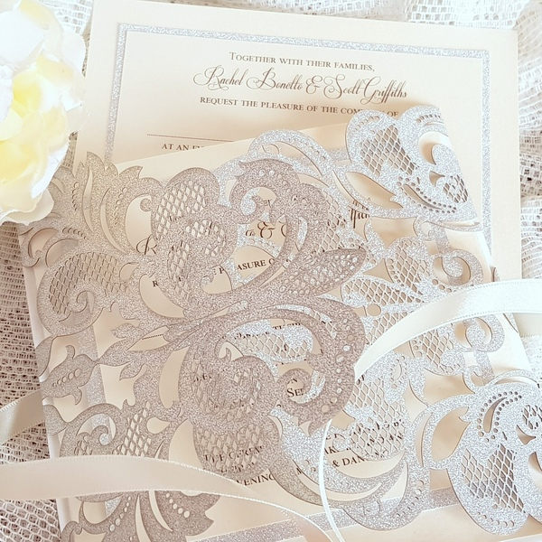 silver glitter laser cut invitations