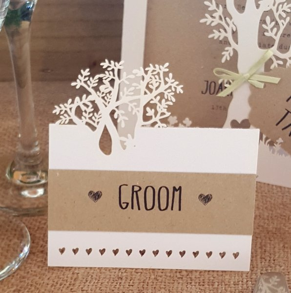laser cut tree wedding place card