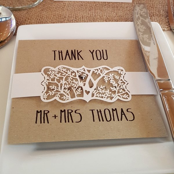 laser cut tree thank you card