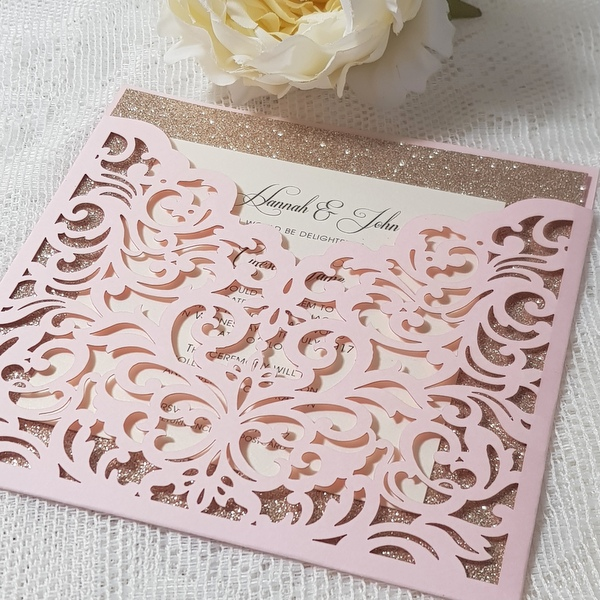 blush and rose gold wallet invitation