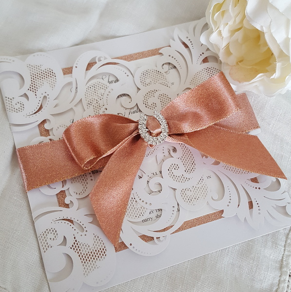 rose gold wedding invitation with horse shoe