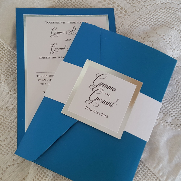 royal blue and chrome wedding invitations