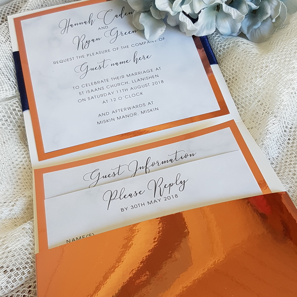 copper pocketfold invitation with marble inserts