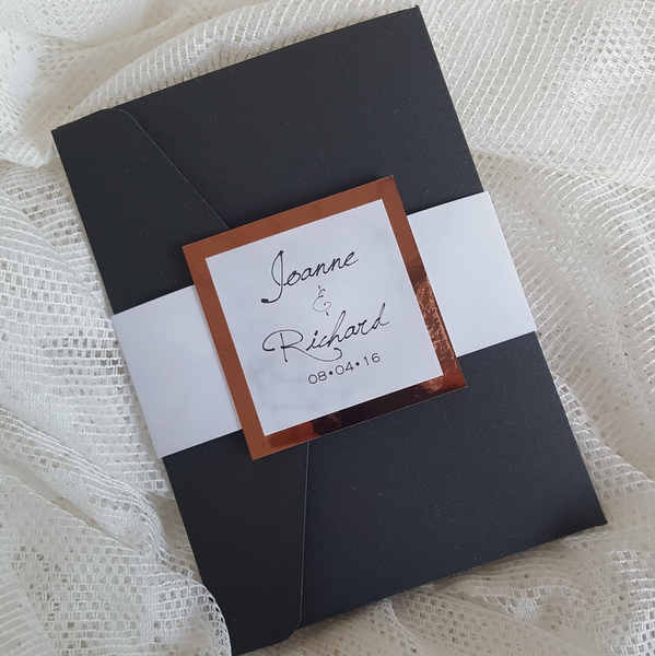 black marble and copper wedding invitation