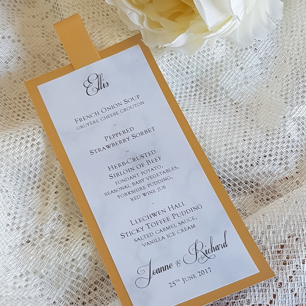 marble and brass wedding menu bookmark