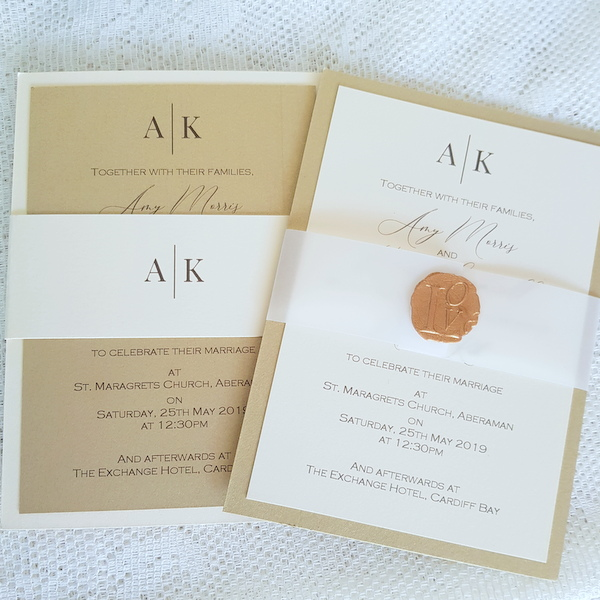 gold and ivory modern wedding invitations