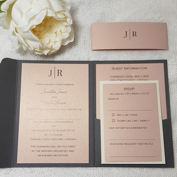 grey and blush elegant modern wedding invitations