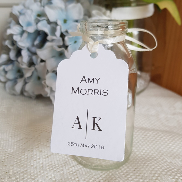 modern monogram wedding favour tag