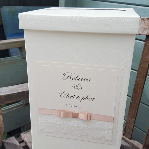 wedding post box with lace