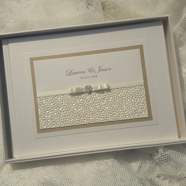sequin sparkle ivory gold guest book