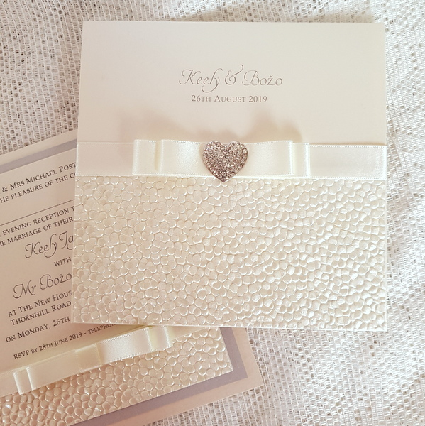sequin sparkle ivory heart invitation