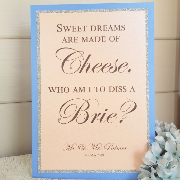 wedding cheese sign