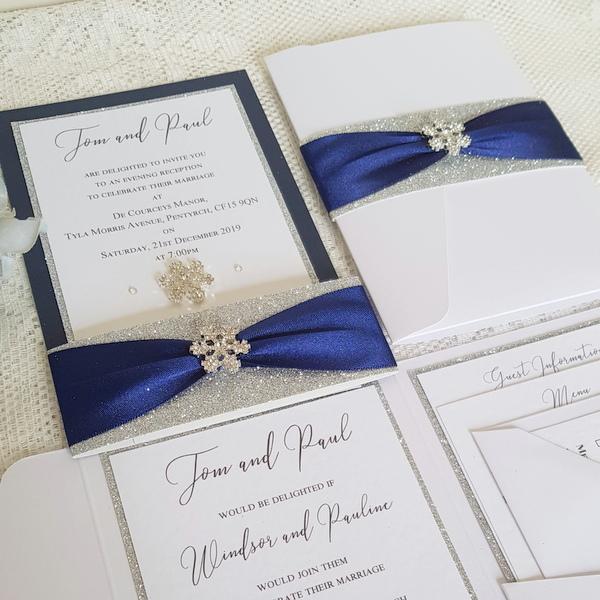 elegant navy and white winter wedding snowflake stationery