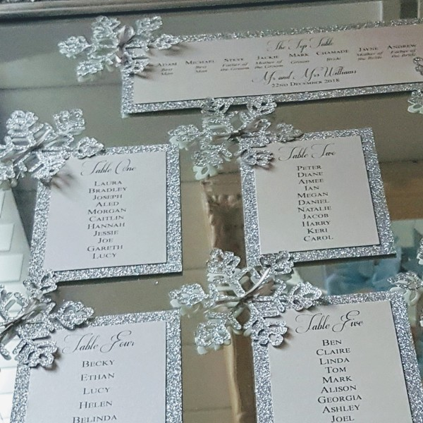 silver glitter snowflake table plan