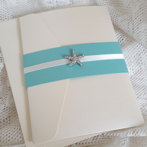 pocketfold invitation with diamante starfish