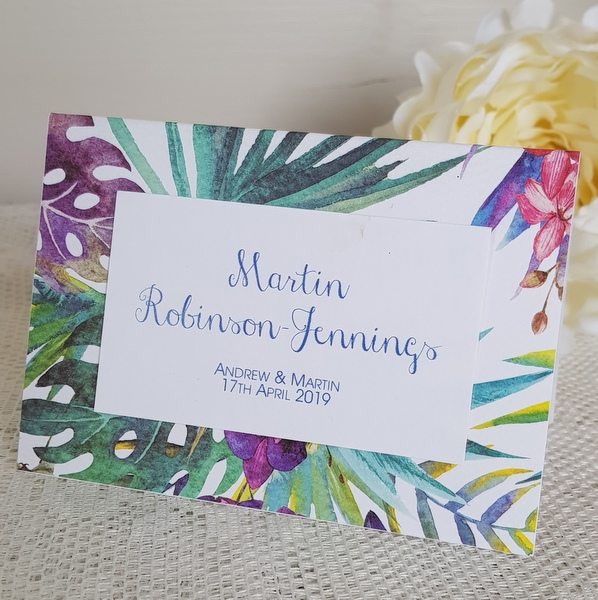 tropical print wedding place card