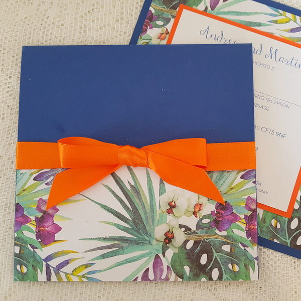blue and orange orchid wedding invitations