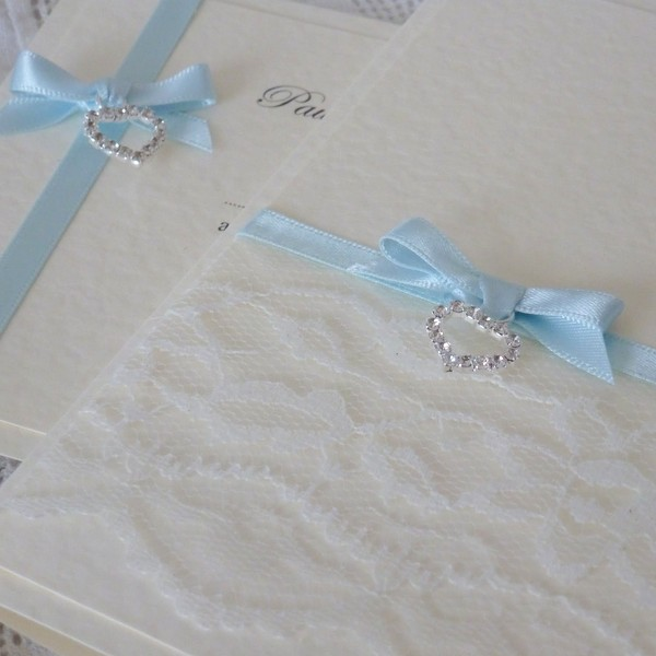 vintage lace wedding invitation with diamante heart