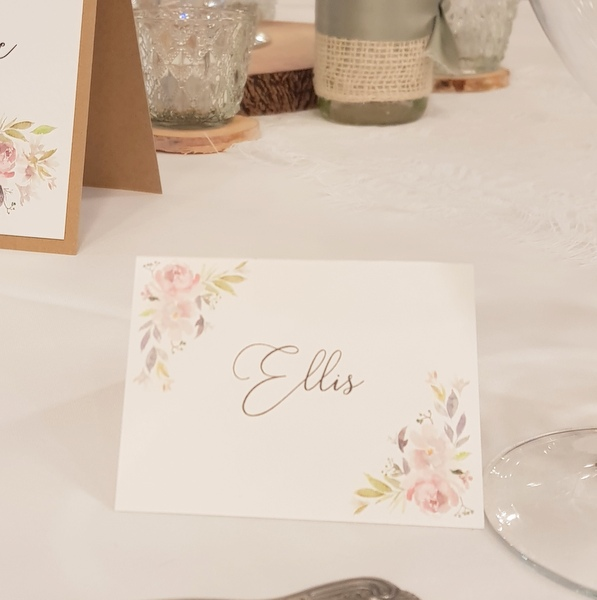 rustic floral place card