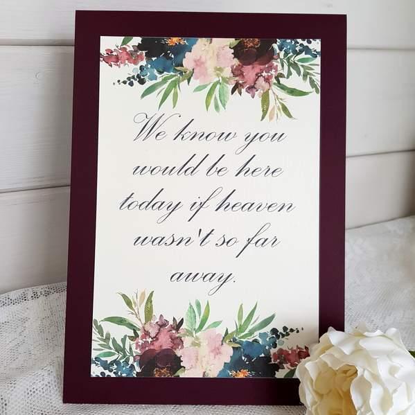 in memory wedding sign
