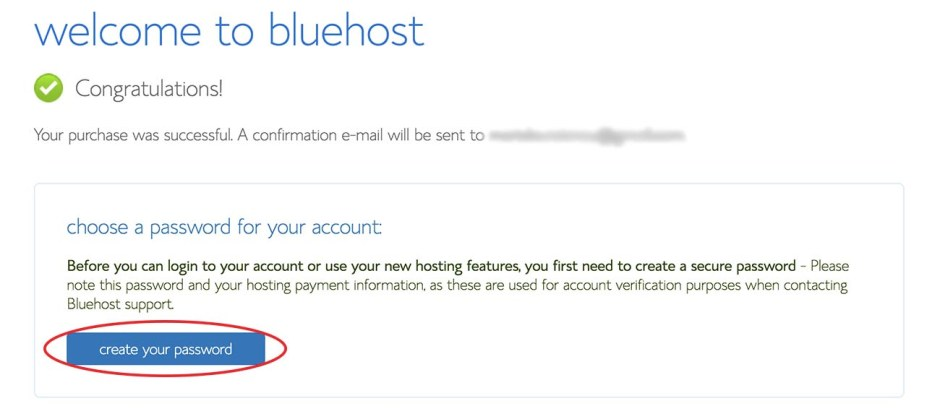 How to start a blog - Create a Bluehost password