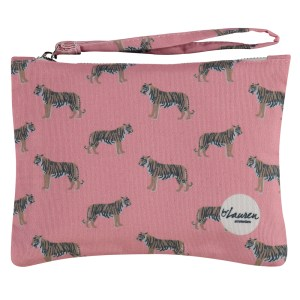 only tigers for me coral pink clutch