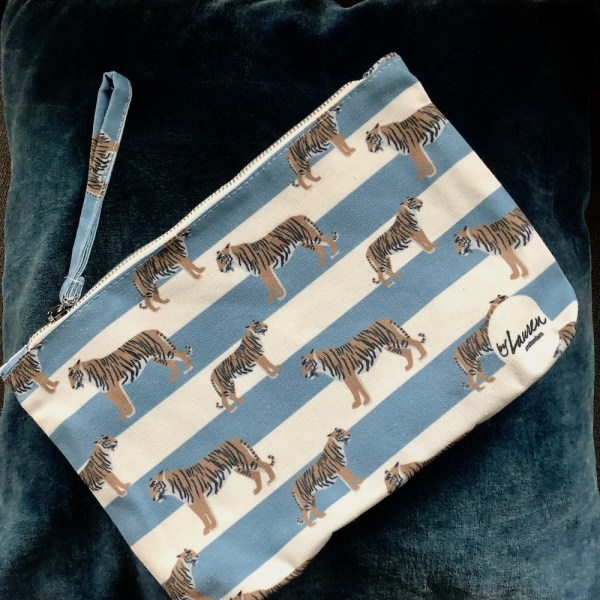 tigers & stripes bluish grey clutch medium