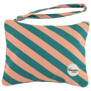 we are stripes groen roze clutch strepen